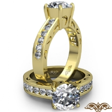 Channel Set Decorative Shank diamond Ring 14k Gold Yellow