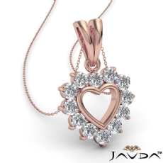 Open Heart Double Bail Pendant Necklace 14k Rose Gold  Round Diamonds (0.4Ct. tw.)