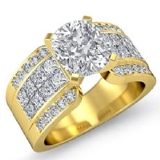 Classic Invisible Sidestone Cushion diamond engagement Ring in 14k Gold Yellow