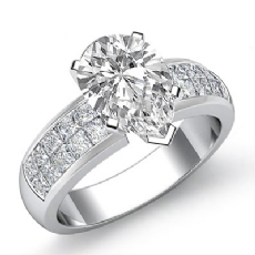 Classic Invisible Set Shank Pear diamond engagement Ring in 14k Gold White