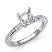 0.35Ct Round Diamond Solitaire Engagement Semi Mount Ring 14k White Gold Pave Setting - javda.com