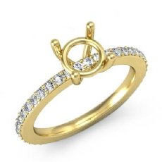 Round Diamond Solitaire Engagement Semi Mount Ring 18k Gold Yellow Pave Setting (0.35Ct. tw.)