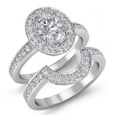 Famous Celebrity's Bridal Set Oval diamond engagement Ring in 14k Gold White