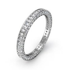 Vintage Round Pave Diamond Eternity Ring Women's Wedding Band 14k W Gold 1.58Ct