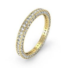 Vintage Round Pave Diamond Eternity Ring Women's Wedding Band 18k Gold Yellow  (1.58Ct. tw.)