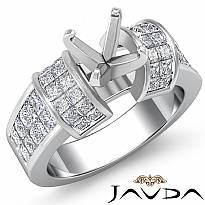 1.96Ct Diamond Engagement Women Ring 14k White Gold Princess Invisible Semi Mount