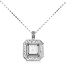 0.57ct Round Pre Set pave Diamond Solitaire Pendant 14k White Gold