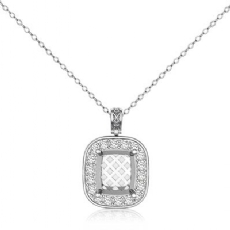 0.57ct Pre Set pave Diamond Cushion Solitaire Pendant 14k White Gold