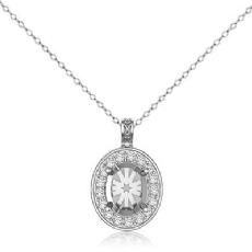 0.63Ct Pave Set Diamond Oval Solitaire Pendant 14k White Gold