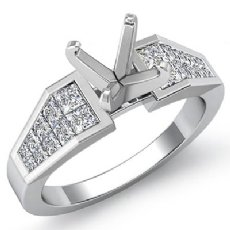 0.78Ct Princess Diamond Engagement Women's Ring Invisible Setting 14K White Gold