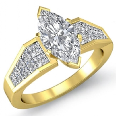 Invisible Set 4 Prong Peg Head Marquise diamond  Ring in 18k Gold Yellow