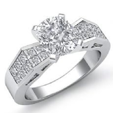 Invisible Classic Side Stone diamond Ring 14k Gold White