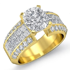 Classic Invisible Set Sidestone Cushion diamond engagement Ring in 14k Gold Yellow