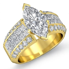 Classic Invisible Set Sidestone Marquise diamond engagement Ring in 14k Gold Yellow