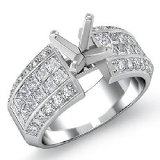 1.46Ct Round & Princess Diamond Engagement Invisible Setting Ring 14K White Gold