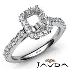 French Cut Pave Set Diamond Engagement Emerald Semi Mount Ring 14K W Gold 1Ct
