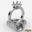 Round Cut Semi Mount Pave Setting Diamond Engagement Ring 14k White Gold 1.33Ct - javda.com