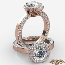 Halo Pave Channel Eternity Round diamond  Ring in 18k Rose Gold