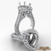 Pear Semi Mount Halo Pave Setting Diamond Engagement Ring 14k White Gold 2.1Ct - javda.com