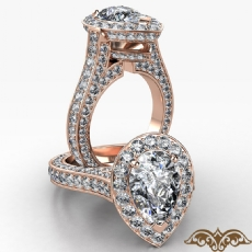 Petite Pave Set Circa Halo Pear diamond  Ring in 18k Rose Gold