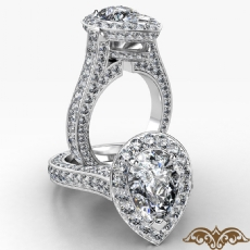 Petite Pave Set Circa Halo Pear diamond  Ring in 18k Gold White