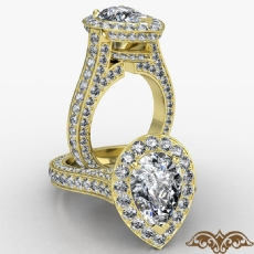 Petite Pave Set Circa Halo diamond Ring 14k Gold Yellow