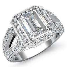Split Shank Halo Pave Set Emerald diamond engagement Ring in 14k Gold White