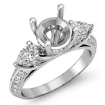 Pear Round Diamond 3 Stone Engagement Ring Semi Mount Setting 14k White Gold 1.21Ct - javda.com