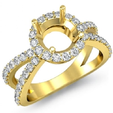Diamond Engagement SemiMount Ring Split Shank 14k Gold Yellow Halo Setting  (0.75Ct. tw.)