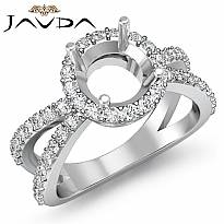 Diamond Engagement SemiMount Ring Split Shank 14k White Gold Halo Setting 0.75Ct