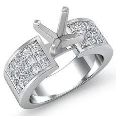 1.29Ct Princess Diamond Invisible Setting Engagement Women's Ring 14K White Gold