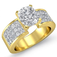 Classic Side Stone 4 Prong Cushion diamond engagement Ring in 14k Gold Yellow