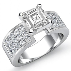 Classic Side Stone 4 Prong Asscher diamond engagement Ring in 14k Gold White