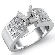 0.31Ct Round Diamond Engagement 3 Row Channel Womens Ring Setting 14K White Gold