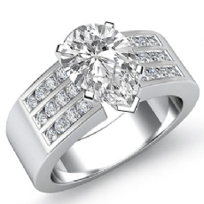Channel Set Sidestone Pear diamond engagement Ring in 14k Gold White