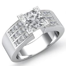 Channel Set Sidestone Princess diamond engagement Ring in 14k Gold White