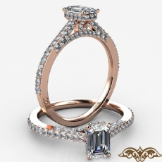 Micropave Circa Halo Bridge Emerald diamond  Ring in 18k Rose Gold