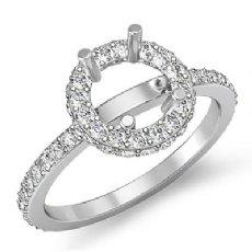 Diamond Engagement Ring 14k White Gold Round Semi Mount Halo Pave Setting 0.85Ct