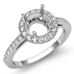Diamond Engagement Ring Halo Pave Setting 14k White Gold Round Semi Mount 0.45Ct - javda.com