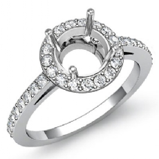 Diamond Engagement Ring Halo Pave Setting 14k White Gold Round Semi Mount 0.45Ct