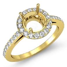 Diamond Engagement Ring Halo Pave Setting 14k Gold Yellow Round Semi Mount  (0.45Ct. tw.)