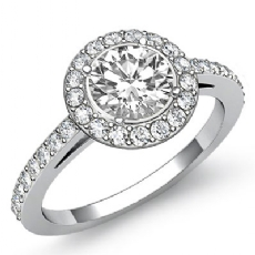 Sidestone Halo Pave Filigree Round diamond engagement Ring in 14k Gold White
