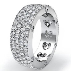 Round Diamond Womens Wedding Band Eternity Engagement Ring 14k White Gold 3.5Ct