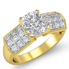 Invisible 4 Prong Setting Cushion diamond engagement Ring in 14k Gold Yellow