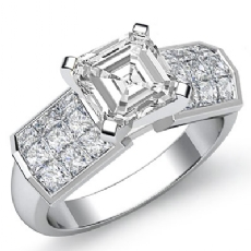 Invisible 4 Prong Setting Asscher diamond engagement Ring in 14k Gold White