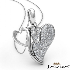 Round Diamond Double Heart Pendant Necklace In 18k Gold White (0.75Ct. tw.)