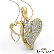 Round Diamond Double Heart Pendant Necklace In 14k Gold Yellow (0.75Ct. tw.)