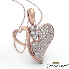 Round Diamond Double Heart Pendant Necklace In 14k Rose Gold (0.75Ct. tw.)