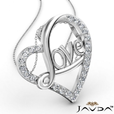 Love Script Heart Pendant Necklace Round Diamond 18k Gold White  (0.45Ct. tw.)