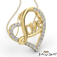 Love Script Heart Pendant Necklace Round Diamond 14k Gold Yellow  (0.45Ct. tw.)
